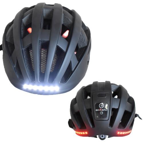 Κράνος Ποδηλάτου με Φωτάκια μπρος και πίσω Επαναφορτιζόμενα με USB matt Black