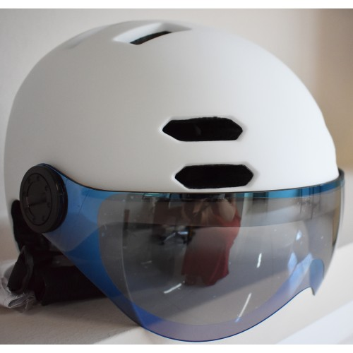 Κράνος με προστατευτικά γυαλιά και αποσπώμενο γείσο για ηλεκτροκίνητο Ποδήλατο Πατίνι Scooter Ski Snowboard Sledge matt White