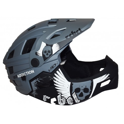 Full Face Κράνος ποδηλάτου BMX Freeride - Downhill ΜΟΟΝ matt Grey