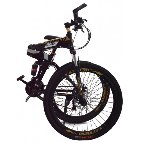 Ποδήλατο Σπαστό SPORT E-FRIEND SHIMANO Ταχύτητες 26 ίντσες σε Μαύρο - Χρυσό