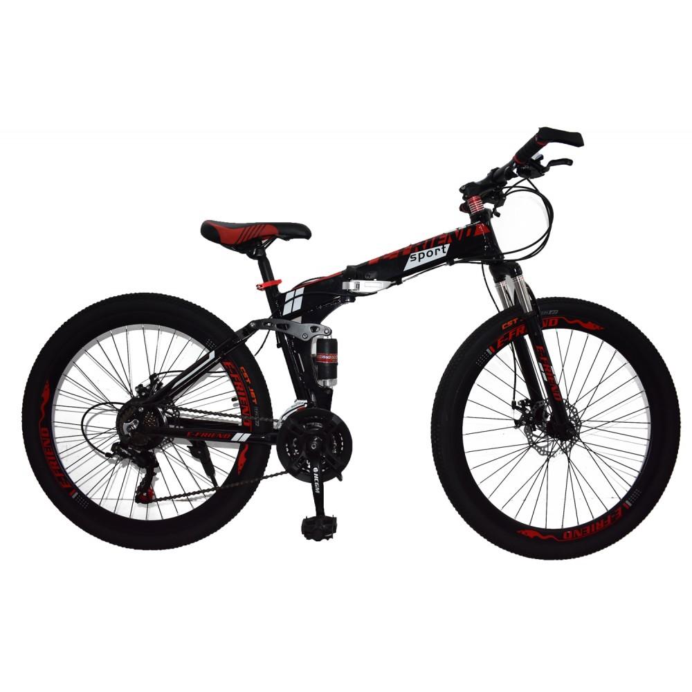 Ποδήλατο Αλουμινίου Σπαστό SPORT E-FRIEND SHIMANO Ταχύτητες 26 ίντσες σε Μαύρο - Κόκκινο