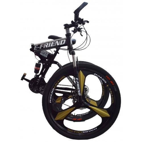 Ποδήλατο Σπαστό SPORT E-FRIEND με Χρυσές Ζάντες SHIMANO Ταχύτητες 26 ίντσες σε Μαύρο