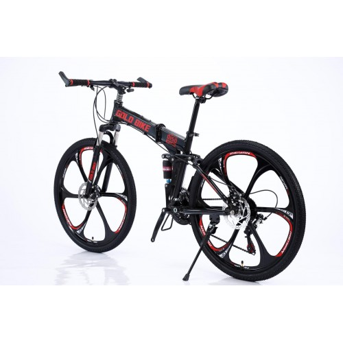 Ποδήλατο Σπαστό Mountain Αλουμινίου Gold Bike New με SHIMANO ταχύτητες 26 ίντσες σε Μαύρο Κόκκινο