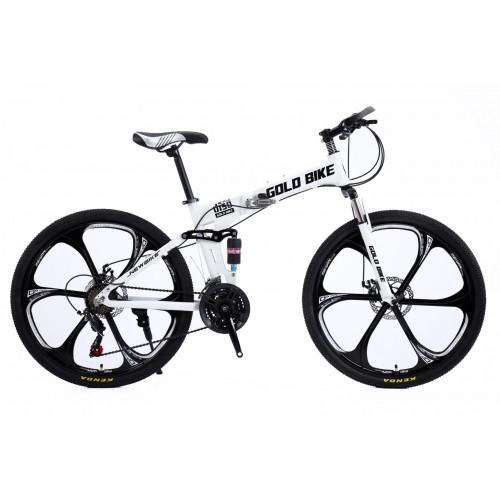 Ποδήλατο Σπαστό Mountain Αλουμινίου Gold Bike New με SHIMANO ταχύτητες 26 ίντσες σε Λευκό Μαύρο